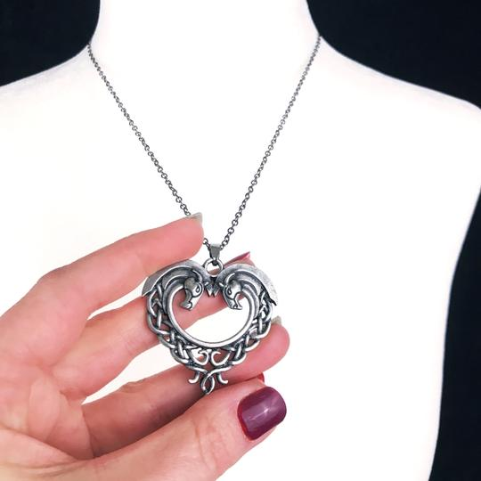 Other Celtic Horse Heart Pendant Necklace Hug Bow Knot Love Eternity Pewter Image 3