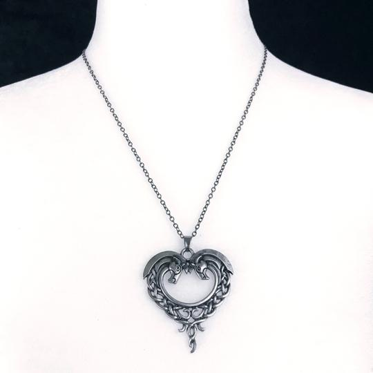 Other Celtic Horse Heart Pendant Necklace Hug Bow Knot Love Eternity Pewter Image 5