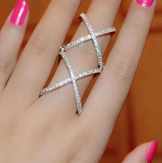 Other 2016 New Women Charming Crystals Gold/Silver Plated Alloy Cross Rings For Women - Plain X Ring Openings Midi Rings Knuckle Ring Image 1