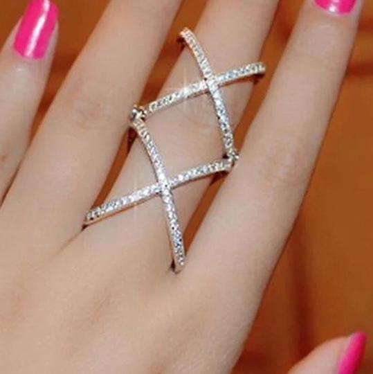 Other 2016 New Women Charming Crystals Gold/Silver Plated Alloy Cross Rings For Women - Plain X Ring Openings Midi Rings Knuckle Ring Image 2