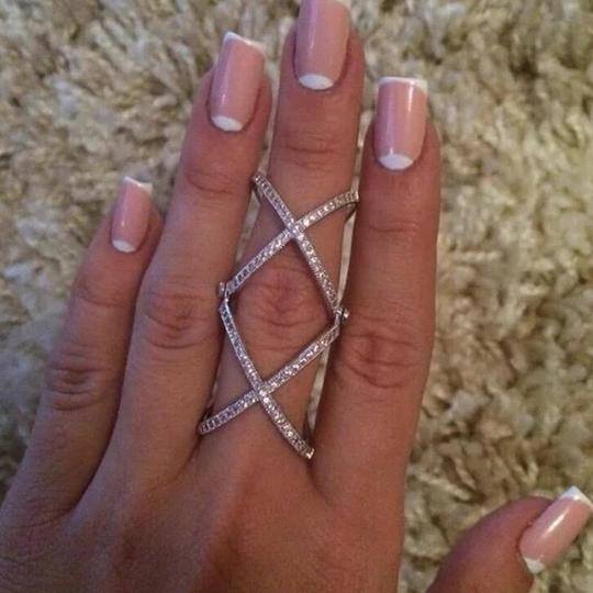 Other 2016 New Women Charming Crystals Gold/Silver Plated Alloy Cross Rings For Women - Plain X Ring Openings Midi Rings Knuckle Ring Image 3