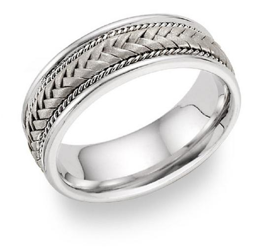 Apples of Gold Silver Braided Ring Women's Wedding Band Image 1