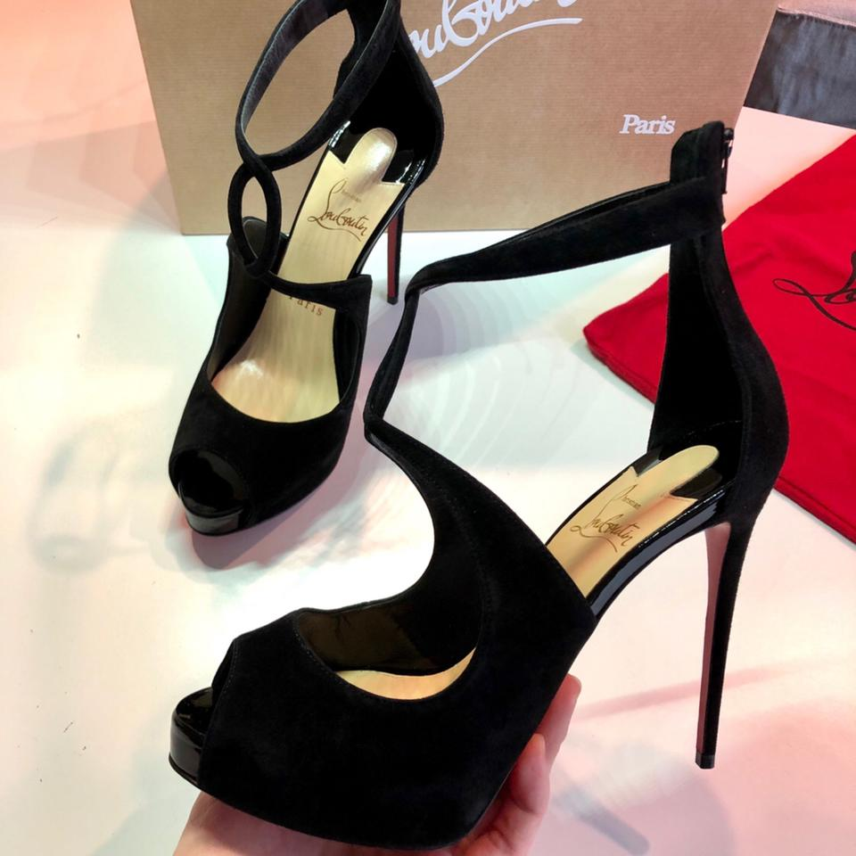 efd2cb429bb Christian Louboutin Black Rosie 120 Suede Crisscross Strap Heels Sandals  Platform Pumps Size EU 37.5 (Approx. US 7.5) Regular (M