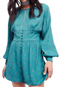 Free People New Button Buttoned Longsleeve Print Dress