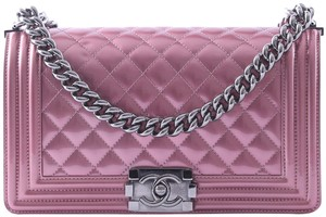 604637e66621 Chanel Boy Medium Quilted Pink Patent Leather Cross Body Bag - Tradesy