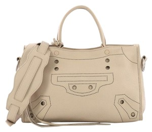 Balenciaga Blackout Leather Tote in Beige
