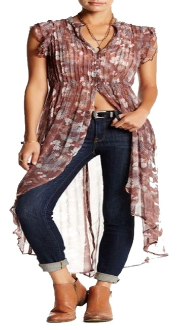Item - Brown & Multi-color XS Ruffle Floral Printed Pleated Asymmetrical Long Casual Maxi Dress Size 0 (XS)