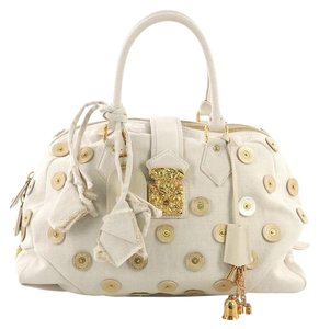Louis Vuitton Polka Dot Canvas Satchel in White