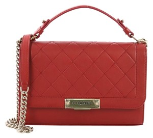 Chanel Label Chick Calfskin Satchel in Red