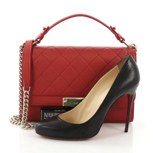 Chanel Label Chick Calfskin Satchel in Red Image 1