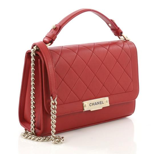 Chanel Label Chick Calfskin Satchel in Red Image 2