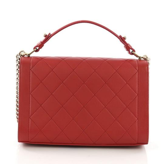 Chanel Label Chick Calfskin Satchel in Red Image 3