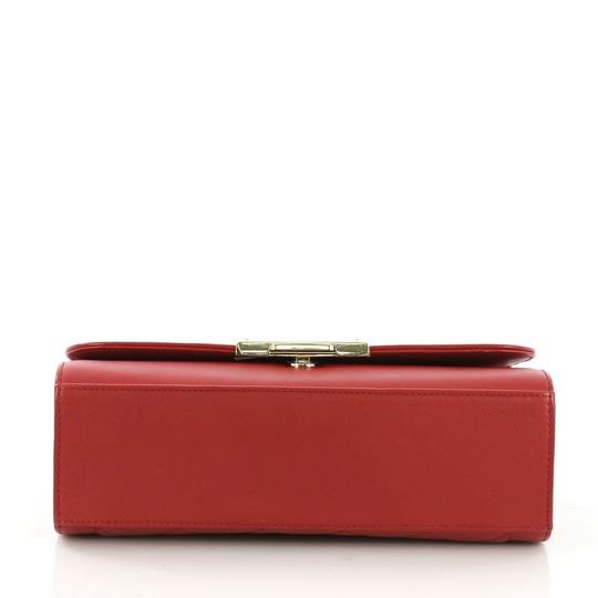 Chanel Label Chick Calfskin Satchel in Red Image 4