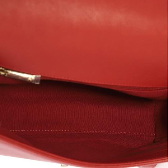 Chanel Label Chick Calfskin Satchel in Red Image 5