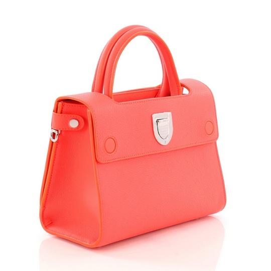 Dior Diorever Leather Satchel in Neon Pink Image 4