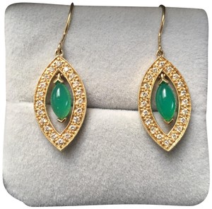 Sydney Evan 14KT Yellow gold Drop Earrings with Green Onyx and Diamonds