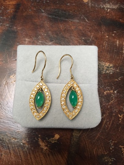 Sydney Evan 14KT Yellow gold Drop Earrings with Green Onyx and Diamonds Image 1