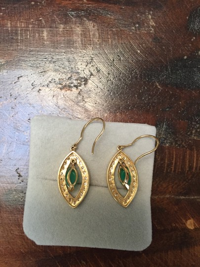 Sydney Evan 14KT Yellow gold Drop Earrings with Green Onyx and Diamonds Image 2