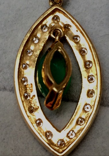Sydney Evan 14KT Yellow gold Drop Earrings with Green Onyx and Diamonds Image 3