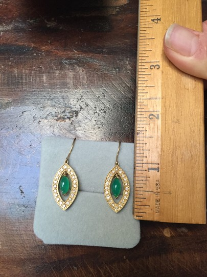 Sydney Evan 14KT Yellow gold Drop Earrings with Green Onyx and Diamonds Image 4