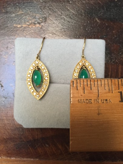 Sydney Evan 14KT Yellow gold Drop Earrings with Green Onyx and Diamonds Image 5