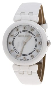 Nina Ricci White Mother of Pearl and Diamonds Ceramic N054004SM Wristwatch 38 mm