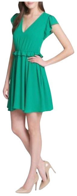 Preload https://img-static.tradesy.com/item/24945235/kensie-green-ruffle-fit-and-flare-v-neck-short-casual-dress-size-6-s-0-1-650-650.jpg