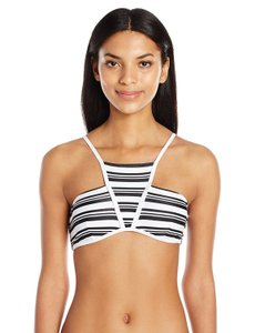 MINKPINK MINKPINK Women's Show Your Stripes High Neck Bikini Top, Black/White