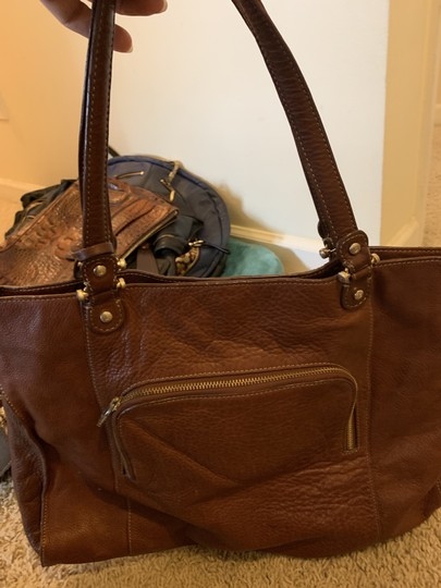 LC Leather Lambskin Suede Lining Tote in Brown Image 1