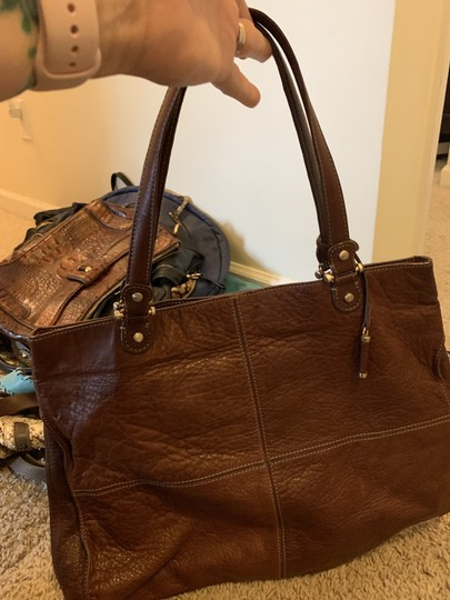 LC Leather Lambskin Suede Lining Tote in Brown Image 2