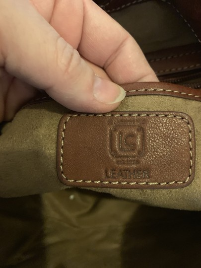 LC Leather Lambskin Suede Lining Tote in Brown Image 3