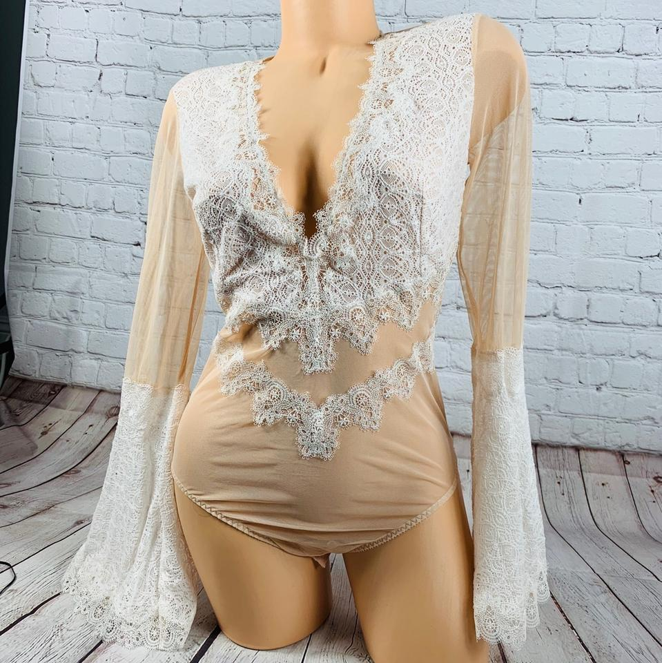 e8c0af3310b Victoria s Secret Boho Chantilly Lace Bodysuit Teddy Tank Top Cami Size 12  (L) - Tradesy