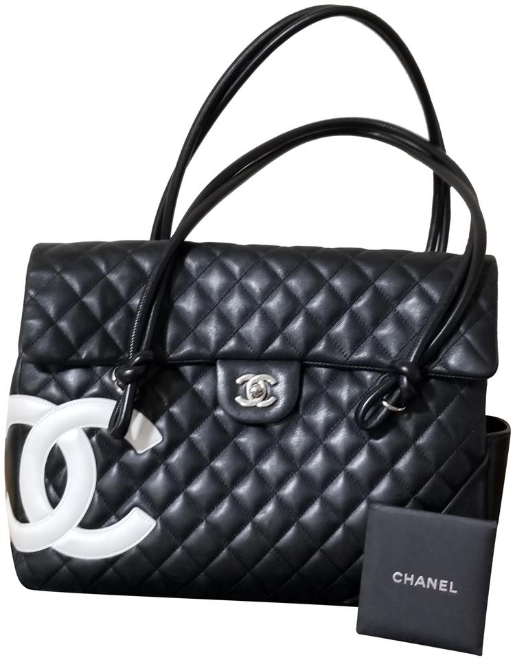 80947bc331701 Chanel Cambon Tote Quilted Large Black and White Lambskin Leather ...