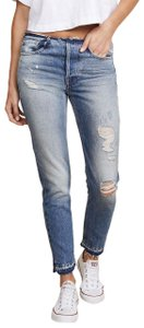 FRAME Rigid Re-release Raw Edge Paige Skinny Jeans-Medium Wash