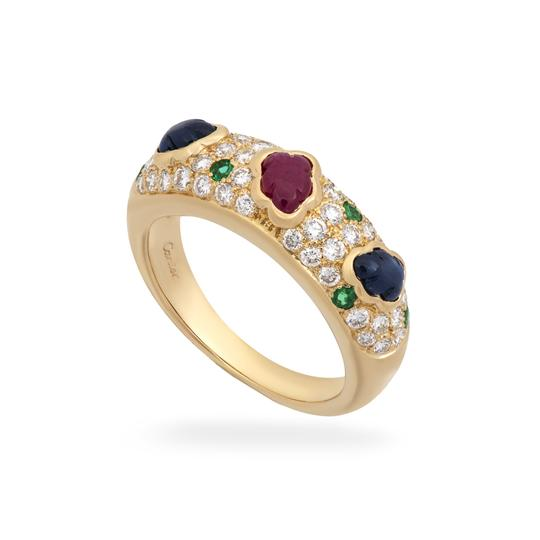 Cartier Cartier 18K Yellow Gold Diamond, Sapphire, Ruby and Emerald Cluster Ri Image 1