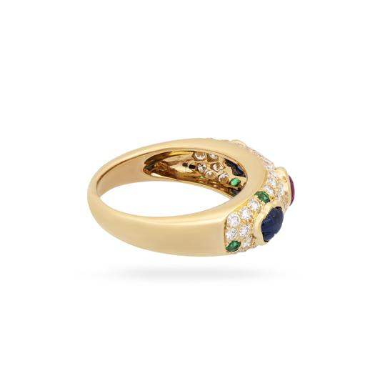 Cartier Cartier 18K Yellow Gold Diamond, Sapphire, Ruby and Emerald Cluster Ri Image 2