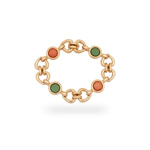 Van Cleef & Arpels Van Cleef & Arples Yellow Gold Coral & Green Jade Heart Love Bracelet
