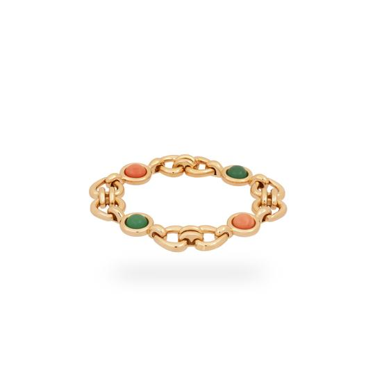 Van Cleef & Arpels Van Cleef & Arples Yellow Gold Coral & Green Jade Heart Love Bracelet Image 1