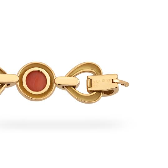 Van Cleef & Arpels Van Cleef & Arples Yellow Gold Coral & Green Jade Heart Love Bracelet Image 3