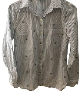 Old Navy Button Down Shirt striped with bumble bees