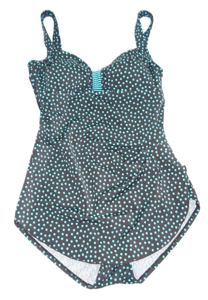 d98e2819d6619 Maxine of Hollywood Brown Teal Polka Dot Skirt One-piece Bathing Suit