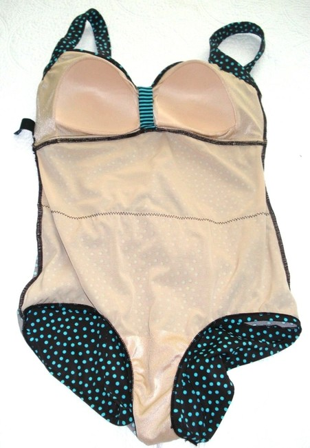 Maxine of Hollywood MAXINE OF HOLLYWOOD Brown Teal POLKA DOT SKIRT One Piece SWIM SUIT 8 Image 10