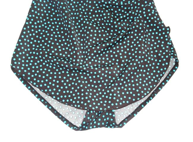 Maxine of Hollywood MAXINE OF HOLLYWOOD Brown Teal POLKA DOT SKIRT One Piece SWIM SUIT 8 Image 5