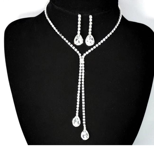 Item - Silver & Clear Cz Romantic Crystal Prom Necklace Earrings Jewelry Set