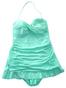 Kenneth Cole Reaction KENNETH COLE REACTION Aqua Halter RUFFLED SKIRT One Piece SWIM SUIT 6.