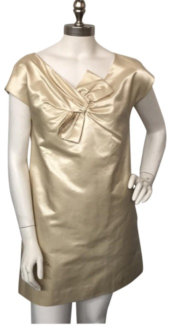 Item - Ivory Satin Mini with Bow Short Cocktail Dress Size 4 (S)
