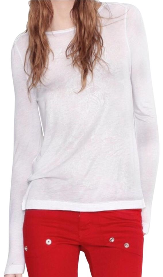 46d6366bfb Zadig   Voltaire White Willy Print Tee Shirt Size 8 (M) - Tradesy