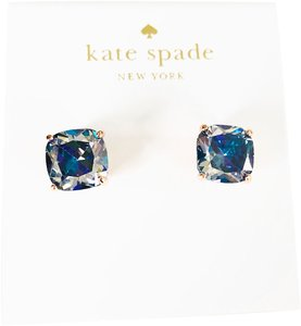 Kate Spade NEW Kate Spade Mini Square ROSE GOLD Navy Clear Stud Earrings