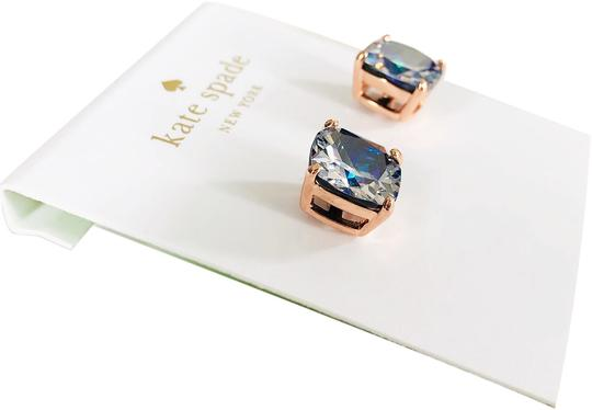 Kate Spade NEW Kate Spade Mini Square ROSE GOLD Navy Clear Stud Earrings Image 2