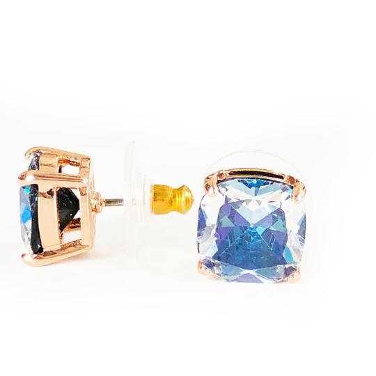 Kate Spade NEW Kate Spade Mini Square ROSE GOLD Navy Clear Stud Earrings Image 3